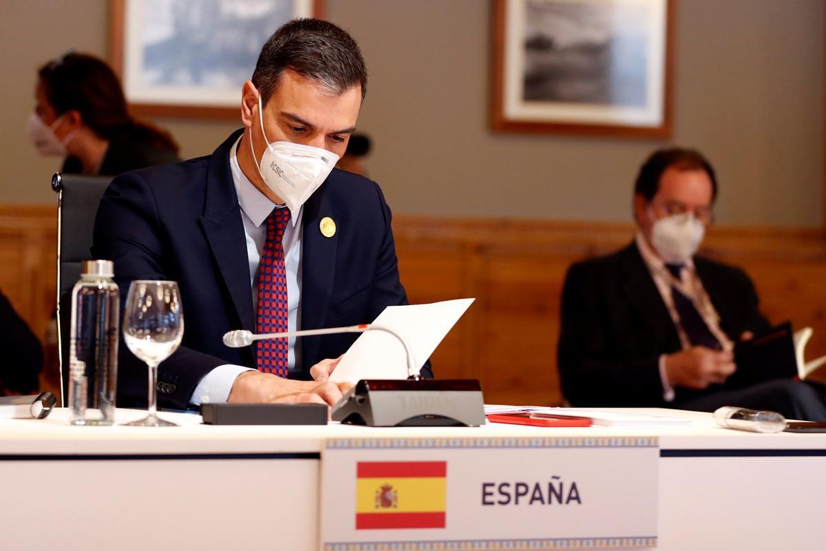 El presidente del Gobierno, Pedro Sánchez, en la sesión plenaria de jefes de Estado y de Gobierno de Iberoamérica.