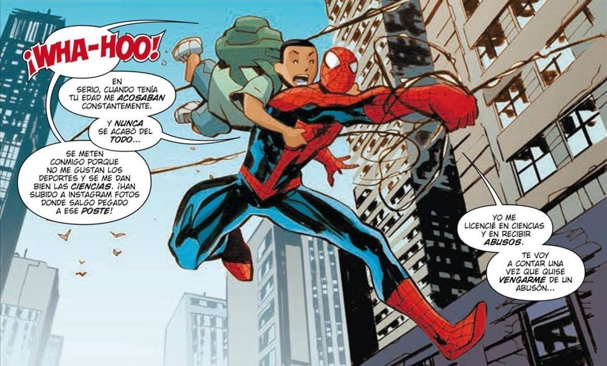 Viñeta del cómic de Spiderman contra el acoso escolar, publicado por Panini.