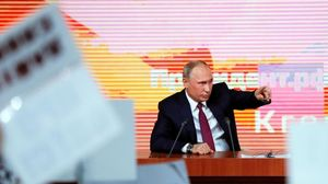 El presidente ruso,Vladimir Putin,interviene durante su rueda de prensa anual.