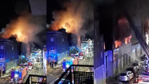 Incendio en una nave ocupada de Badalona.