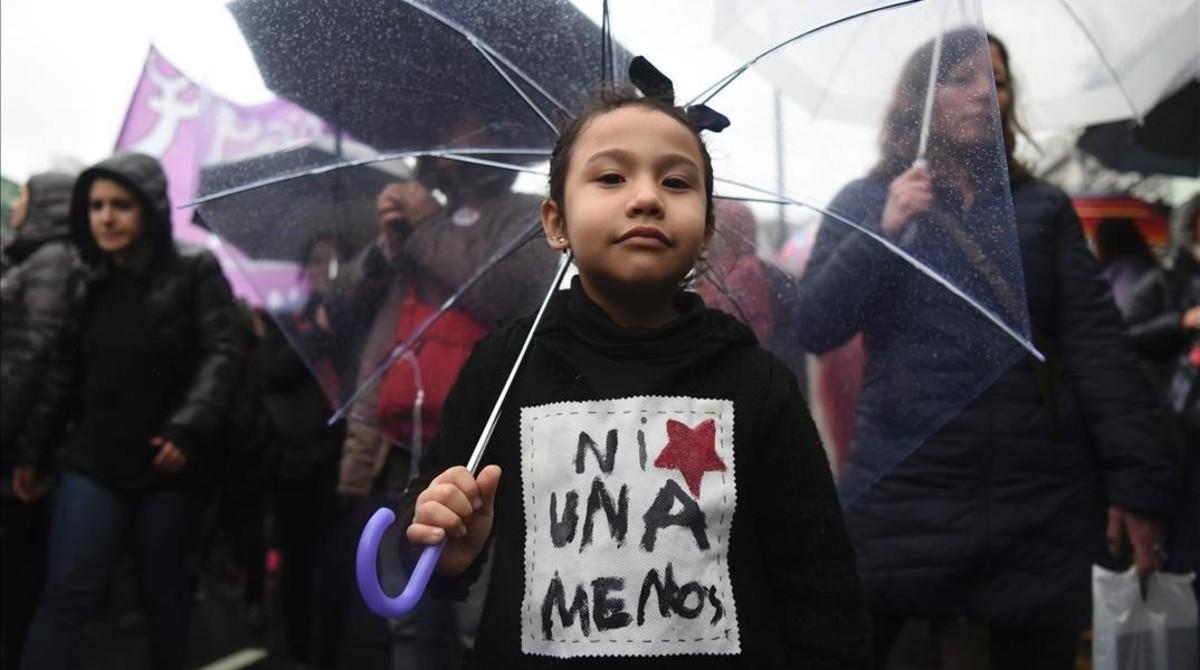 Imagen de la marcha de protestaen Buenos Aires bajo el eslogan Ni una menos.