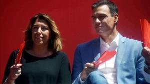 Susana Díaz y Pedro Sánchez, durante un mitin en Córdoba, este miércoles.