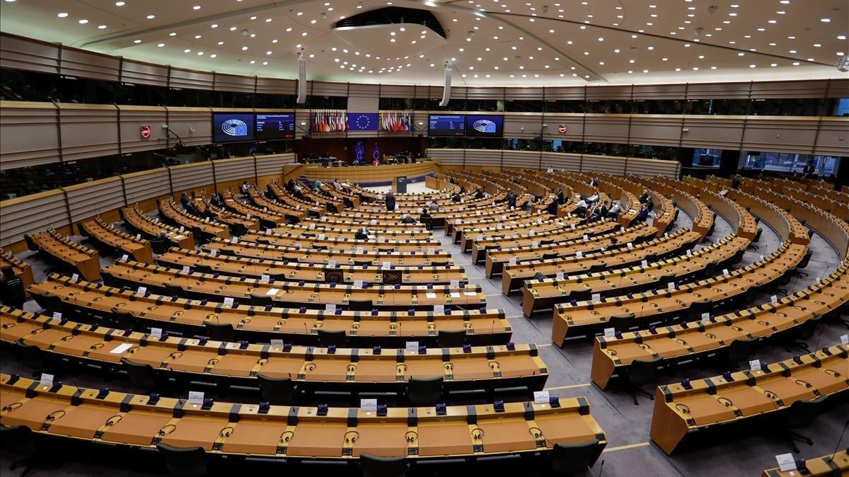 Vista del hemiciclo del Parlamento Europeo durante el pleno del pasado 8 de octubre.