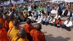 Concentración en favor de los derechos humanos en Phnom Penh, Camboya.