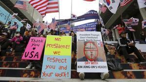 Manifestación ante la embajada de EEUU en Seúl.