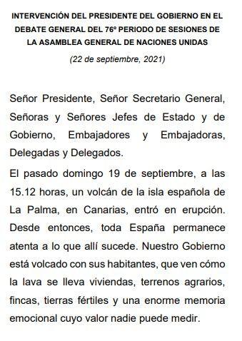 Discurso de Pedro Sánchez ante la Asamblea General de la ONU en el 76º periodo ordinario de sesiones