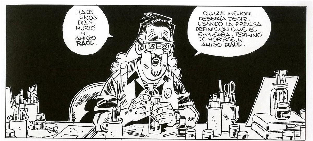 El personaje y álter ego de Carlos Giménez, en la primera viñeta de 'Crisálida', el nuevo cómic del autor de 'Paracuellos'.