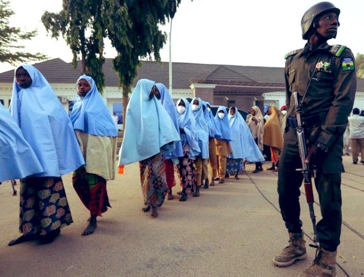 Imagen de archivo de la liberación de un grupo de niñas en Nigeria.