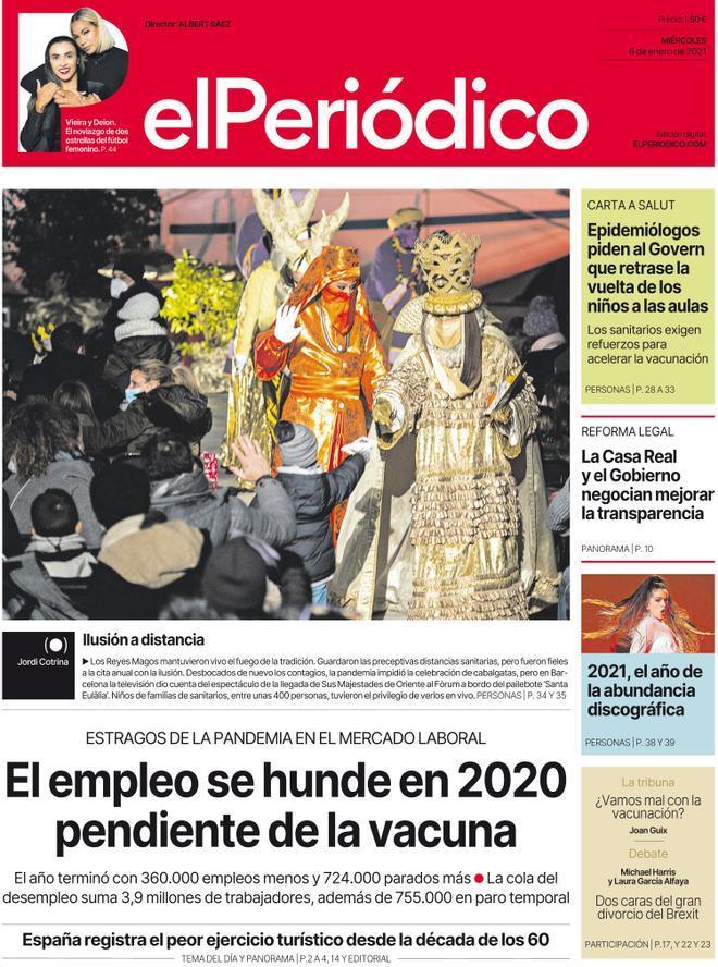 La portada de EL PERIÓDICO del 6 de enero del 2021.