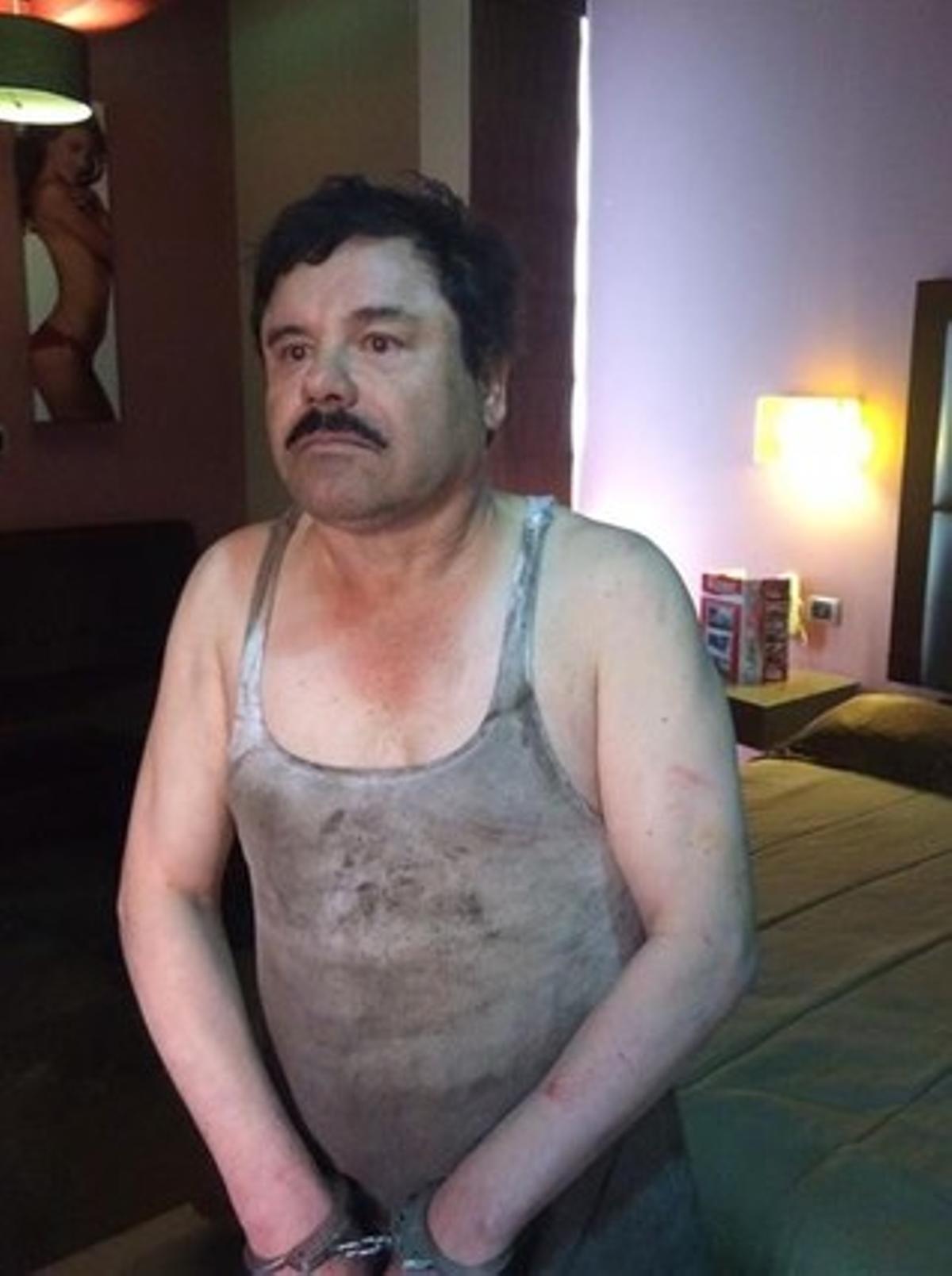 Primera imagen del narcotraficante Joaquin El Chapo Guzman hoy tras su captura.