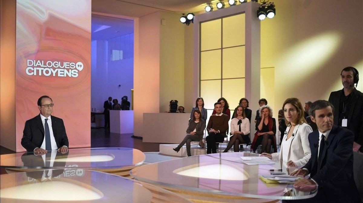 El presidente François Hollande durante su intervención en el programa de televisión de France 2.