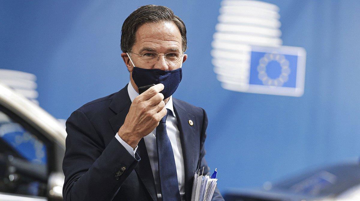 El primer ministro holandés, Mark Rutte, a su llegada a la cuarta jornada de lacumbre de la UE en Bruselas, este lunes 20 de julio.