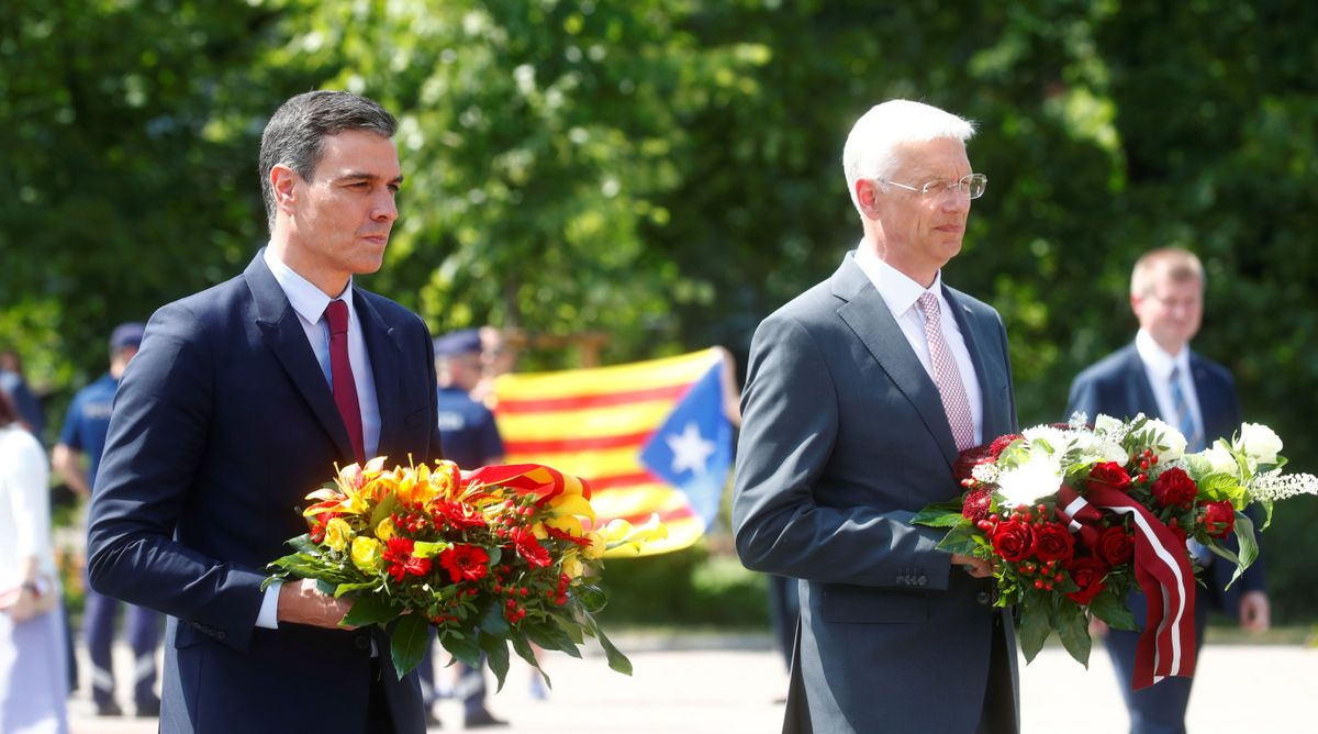 Spanish PM Sanchez and Latvian PM Karins attend flower ceremony at the Freedoms monument in Riga