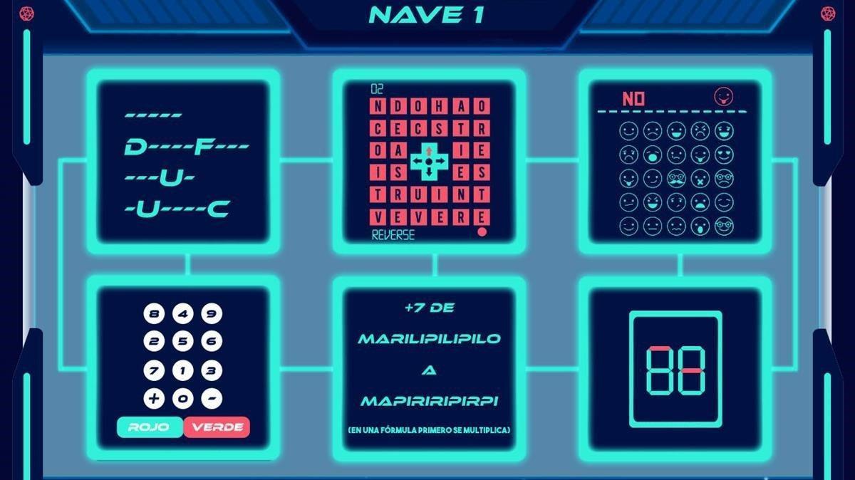 Una de las pantallas de la misión por multiconferencia de Escape Estelar.