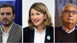Alberto Garzón, Yolanda Díaz y Manuel Castells.
