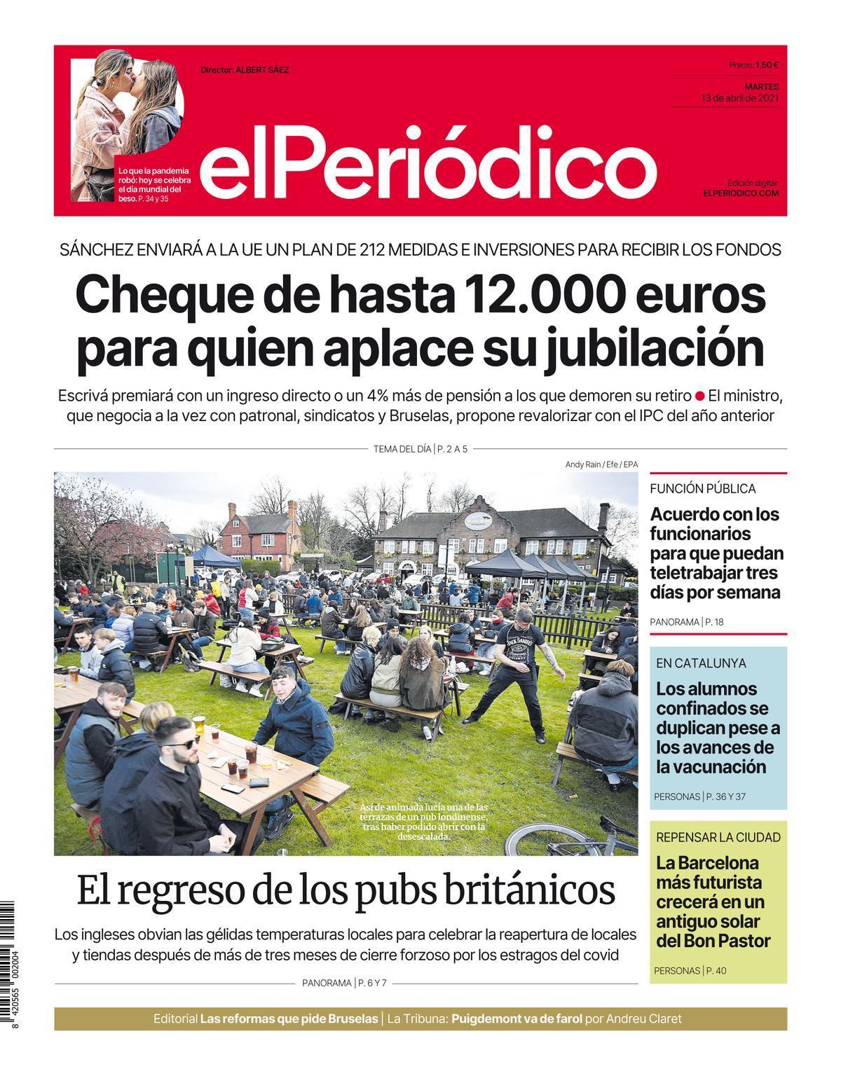 La portada de EL PERIÓDICO del 13 de abril de 2021