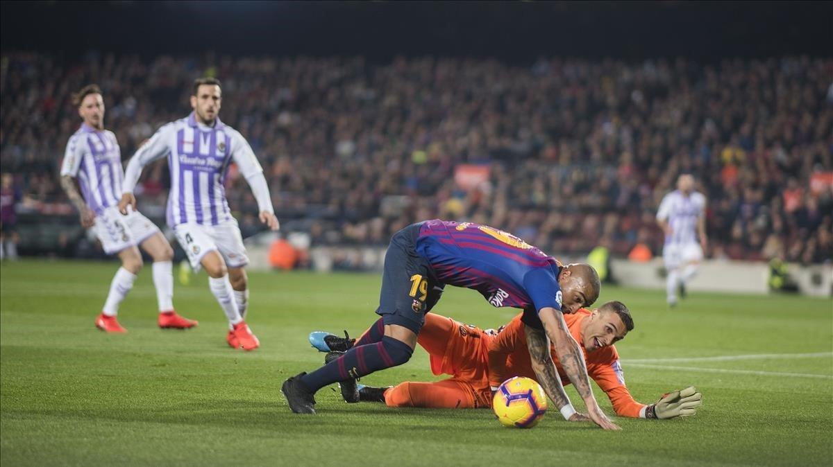 Mano a mano de Jordi Masip y Boatengen el Barça-Valladolid.