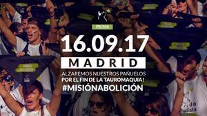 Cartel de la manifestación convocada por PACMAen Madrid el 16 de septiembre.