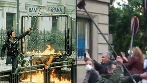 A la izquierda, el 'Cojo manteca' original, de las revueltas estudiantiles de finales de los 80. Al lado, el 'Cojo manteca' del barrio Salamanca de Madrid, durante la manifestación de este miércoles.