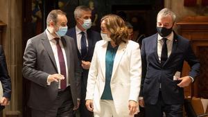 Colau, con el ministro de TransportesMovilidad y Agenda Urbana, JoséLuis Ábalos, cuando anunciaron la aportación estatal para vivienda de alquiler, el 8 de octubre.