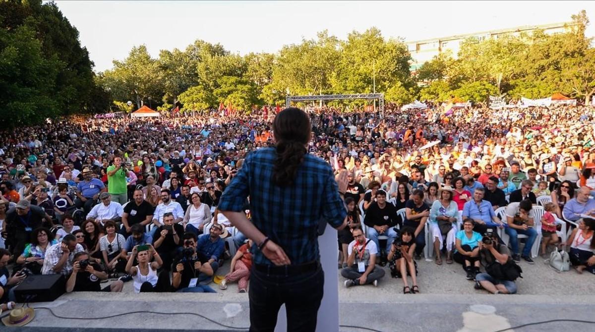 Pablo Iglesias durante un mitin en la campaña electoral del 26-J.