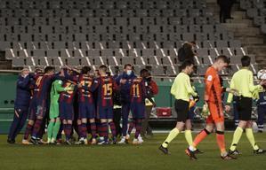 Alegría de los jugadores del Barça tras la tanda de penaltis.
