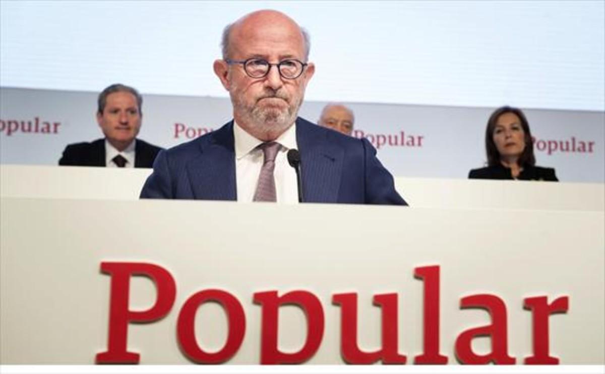 Emilio Saracho, que fue presidente del Banco Popular entre febrero y junio del 2017, durante una junta de accionistas de la entidad.