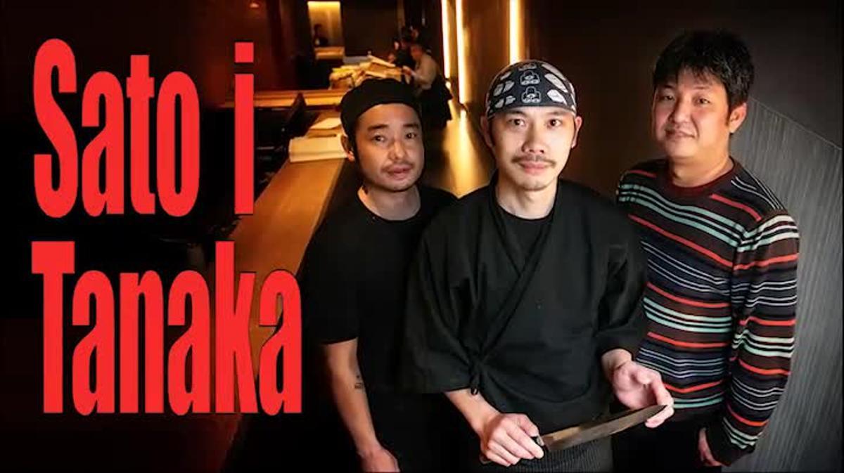 Aki Tanaka, Ryuta Sato y Kenji Ueno explican cómo preparar un 'gunkan' de 'tartar' de atún y un 'nigiri' de salmonete.