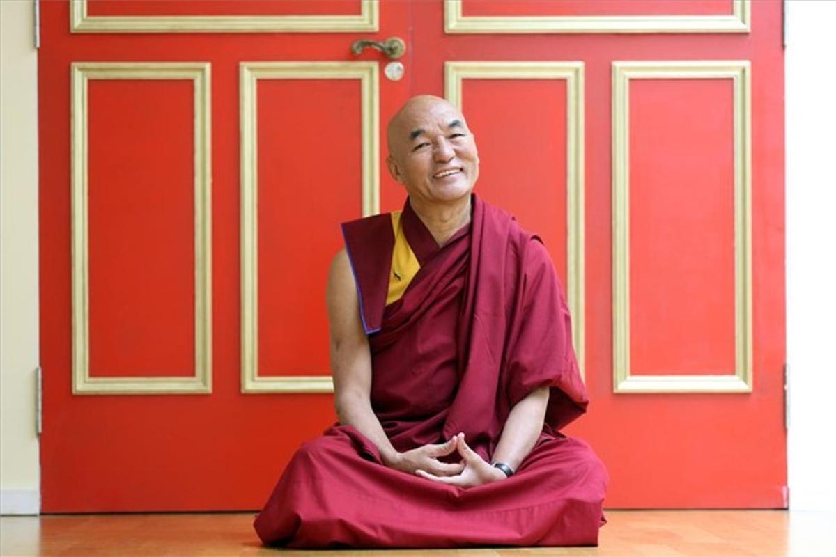 Thubten Wangchen, en la Casa del Tíbet en Barcelona, ayer.