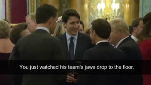 Captura del vídeo en el que Trudeau, Johnson, Macron, Rutte y la princesa Ana conversan en la recepción en Buckingham.