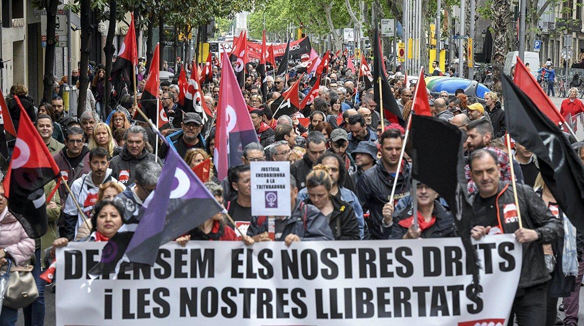 Manifestación del Primero de Mayo en el centro de Barcelona, en el 2018.