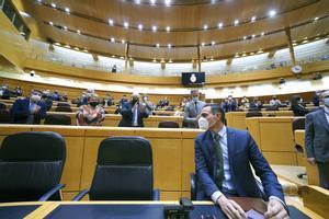 El presidente del Gobierno, Pedro Sánchez, durante la sesión de control al Ejecutivo en el Senado, este 17 de noviembre.