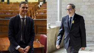 Los presidentes Pedro Sánchez y Quim Torra
