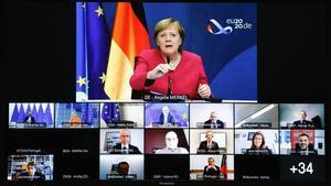 Merkel toma la palabra durante la Cumbre Social Tripartita del Consejo Europeo, celebrada mediante videoconferencia.