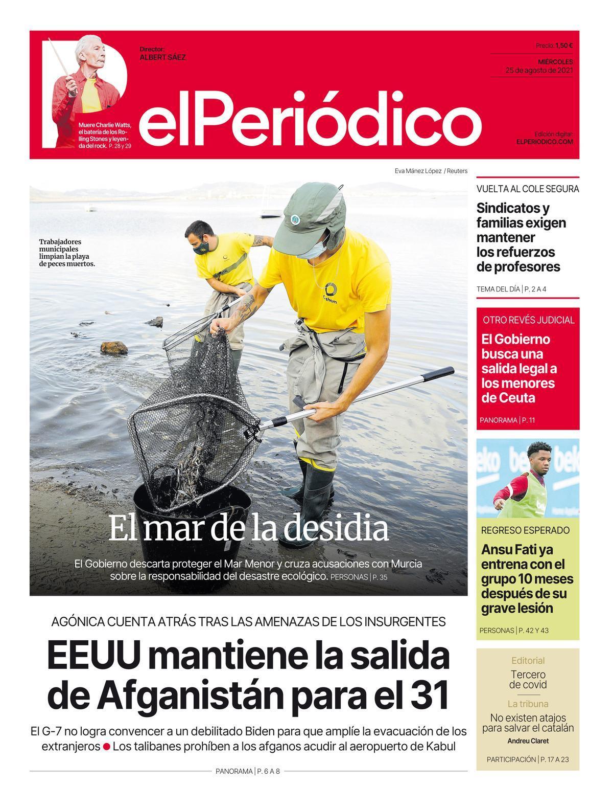 La portada de EL PERIÓDICO del 25 de agosto del 2021