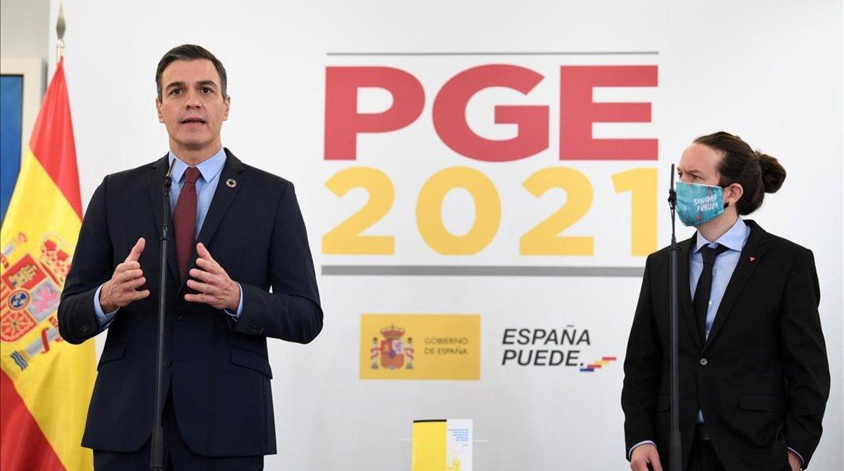 Pedro Sánchez y Pablo Iglesias, en la presentación de los Presupuestos del 2021.