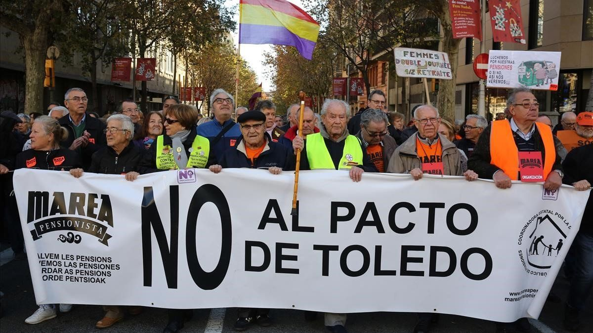 Manifestación de pensionistas, este sábado, en Barcelona.