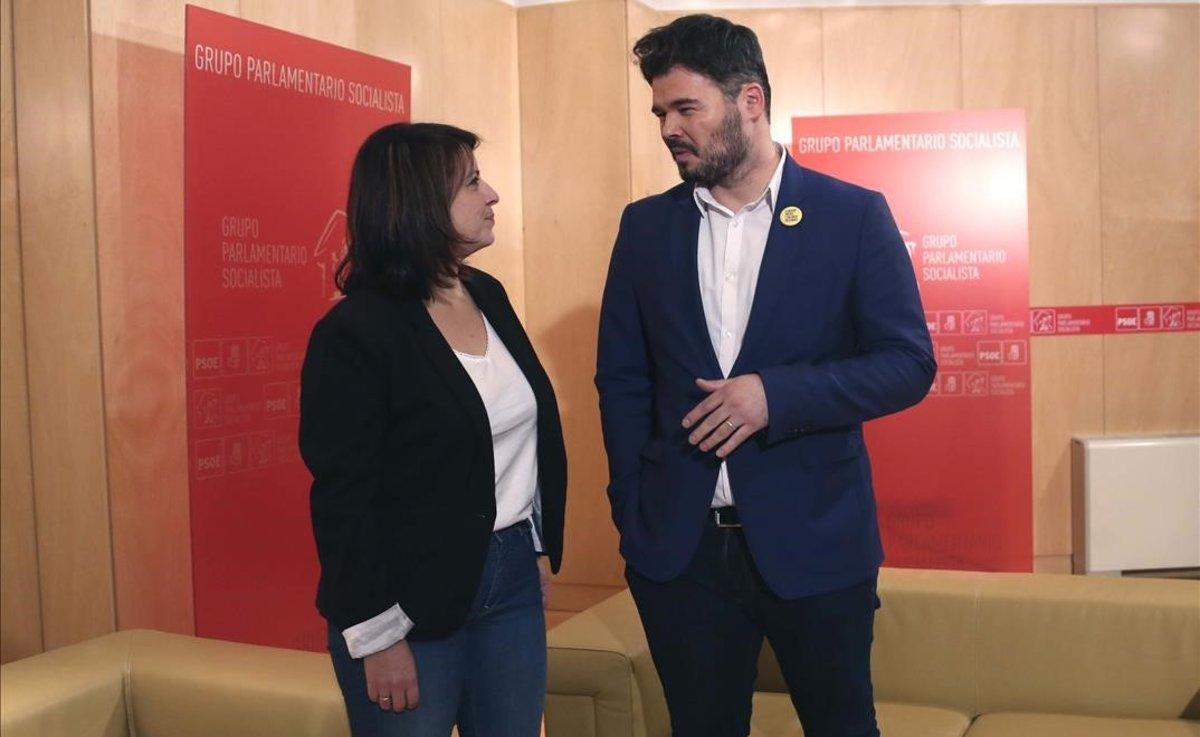 Gabriel Rufián y Adriana Lastra.