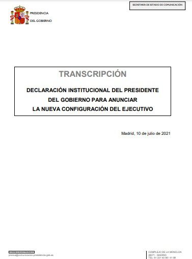 Declaración de Pedro Sánchez tras su crisis de gobierno (10/07/2021)