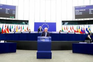 El jefe de la diplomacia europea, Josep Borrell, durante una intervención en la Eurocámara.