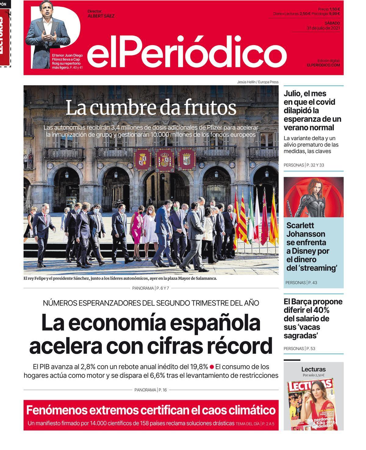 La portada de EL PERIÓDICO del 31 de julio de 2021