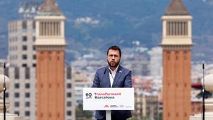 El 'vicepresident' en funciones y candidato a presidir la Generalitat, Pere Aragonès; durante un acto en Barcelona.