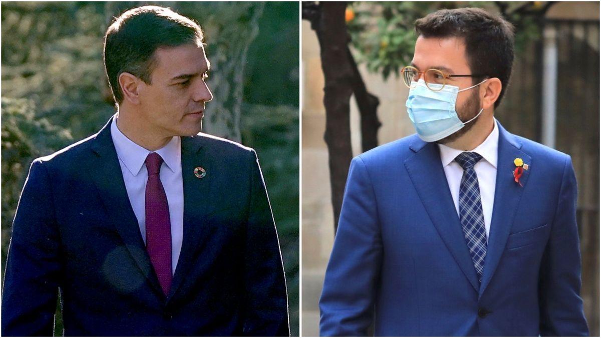 Pedro Sánchez y Pere Aragonès.