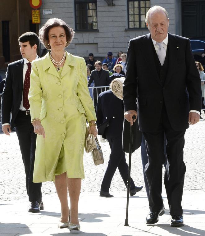 Los reyes Juan Carlos y Sofía, este sábado, en Estocolmo.