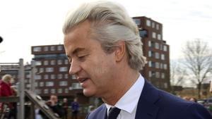 El líder ultra holandés Geert Wilders, este viernes, a su salida del juicio.