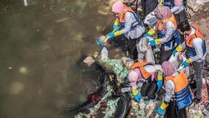 Unos voluntarios recogen plásticos en aguas del río Nilo, cerca de El Cairo.