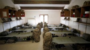 Barracón dormitorio en un centro de entrenamiento de la Legión Extranjera francesa en el sur de Francia, el pasado 12 de marzo.