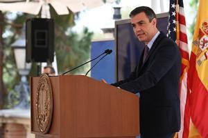 El presidente del Gobierno, Pedro Sánchez, durante su discurso sobre el español en la Universidad de California Los Ángeles (UCLA), el 22 de julio.