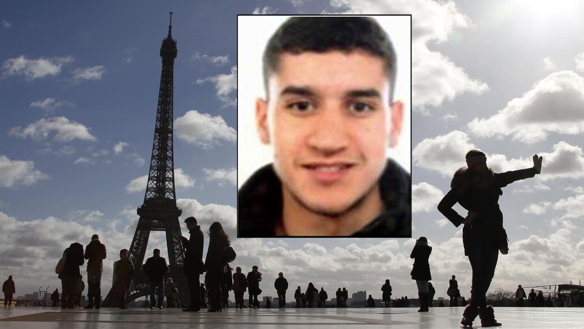 Fotomontaje del terrorista Mohamed Hychami y la torre Eiffel de fondo.
