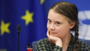 Greta Thunberg, en el Parlamento Europeo, en Estrasburgo.
